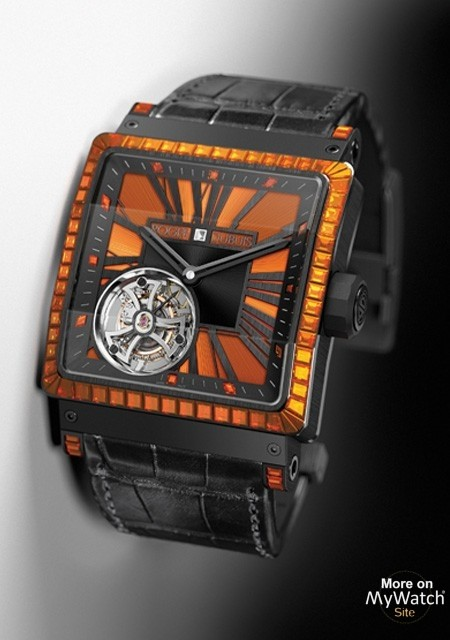 Three-sided Sapphire Roger Dubuis King Square Tourbillon Joaillerie Watch Replica