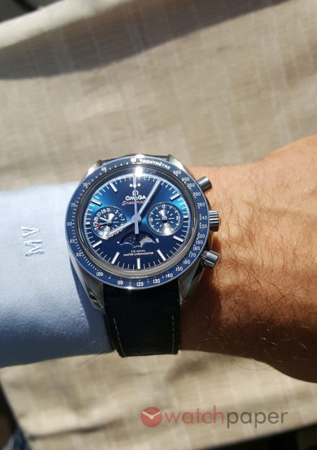 Swiss Fake Blue Dial Omega Speedmaster Moonphase Master Chronometer Replica Wirst Watch