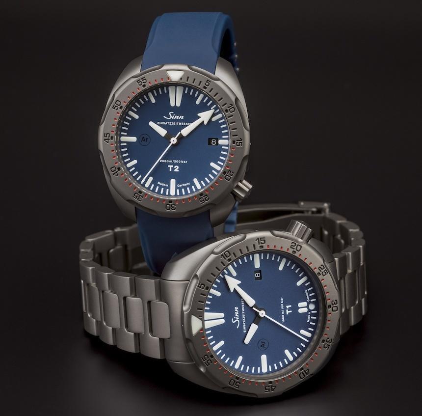 Sinn T1 B, T2 B Dive Watches: Same Titanium, More Blue Watch Releases